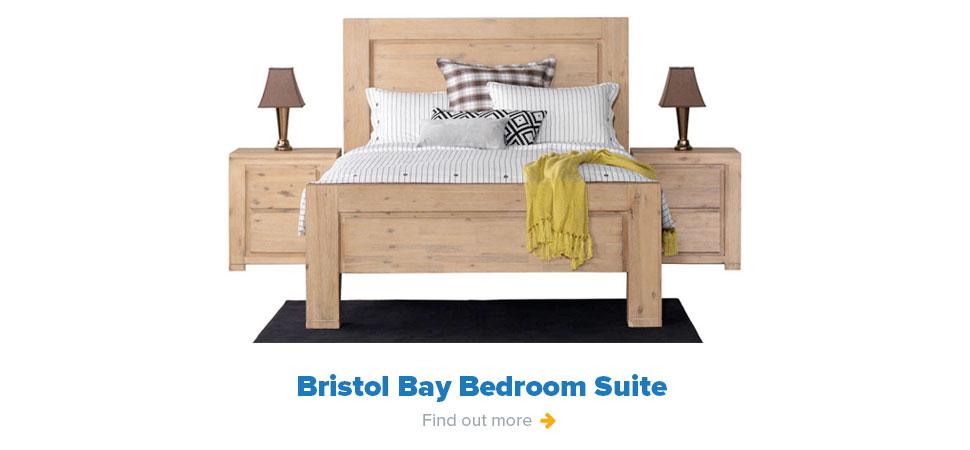 Bristol Bay Bedroom Suite - 3 Piece Bedside Slatbed